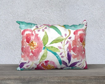 Floral Pillow Cover - Modern Flowers Cushion Cover - Modern Decor - Peach Pink Blue Pillow Cover -18x18 or 20x14 - Decorative Pillow