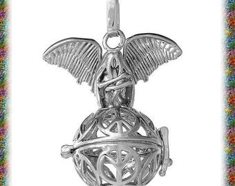 1 Pearl matte silver Angel bird cage pendant