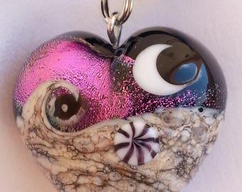 Murano glass - Heart pendant Pink fuschia and silver foil.