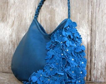 Ocean Blue Leather Bag with Italian Suede Blue Flowers by Stacy Leigh - Shoulder Bag- Spring Summer Fashion