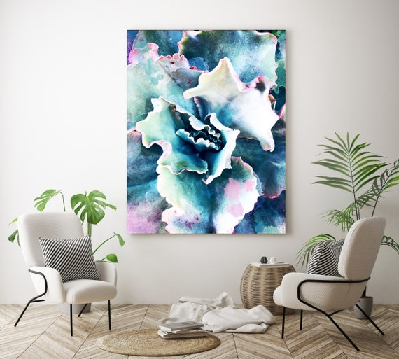 "Pink Blue Succulent. Extra Large Pink Blue Succulent Canvas Art Print, Tropical Canvas Art Print  up to 72"" by Irena Orlov"