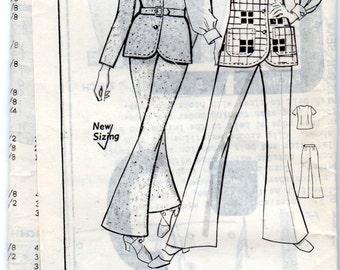 "1970s Women's Jacket, Cardigan, Vest & Bell Bottom Pants Pattern - Size 18, Bust 40"" - mail order pattern GRIT 8282"