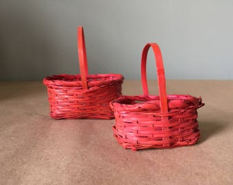 Two Small Red Baskets Minature Baskets with Handles