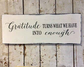 Farmhouse Wood Sign Gratitude Enough Wall Art Wooden Sign Made To Order Modern Farmhouse Fixer Upper Style Housewarming Gift Gift for Her