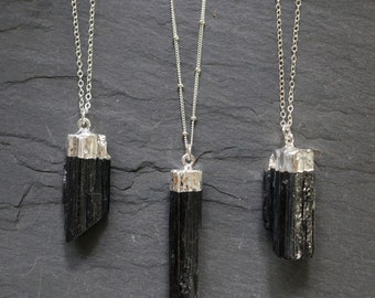 Black Tourmaline Necklace / Raw Tourmaline Necklace / Tourmaline Necklace / Silver Tourmaline Necklace / Raw Tourmaline Pendant