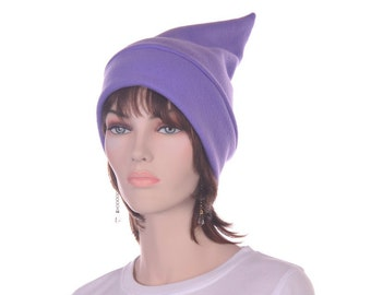 Light Purple Elf Hat Stocking Cap Dwarf Fleece Pointed Stocking Hat Warm Watchman Beanie