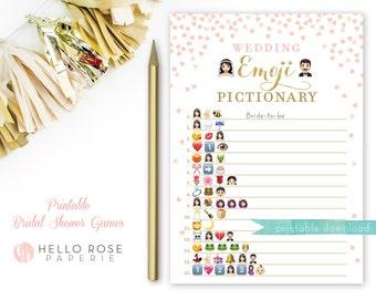 Emoji Game . Pink and Gold Bridal Shower Wedding Emoji Pictionary Game . Bridal Shower Game Printable . Instant Download . Gold Glitter