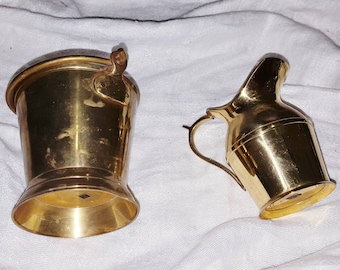 Vintage Brass Miniature Pail and Pitcher - Each about 3-3/4 Tall