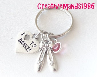 I Love to Dance Keychain, Dance, Personalized Dance Keychain