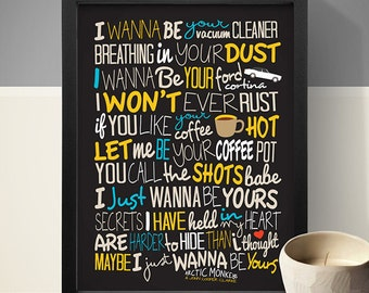 Arctic Monkeys - I Wanna Be Yours Print, Song Lyrics Print, Music Poster, Song Lyrics