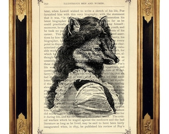 Fox Art Print Vixen Lady Portrait Nursary Poster Woodland Animal Image - Vintage Victorian Book Page Art Print Steampunk