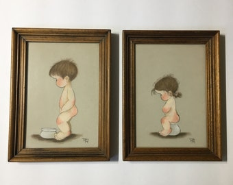 Pair of sweet nursey framed mixed media boy girl bathroom