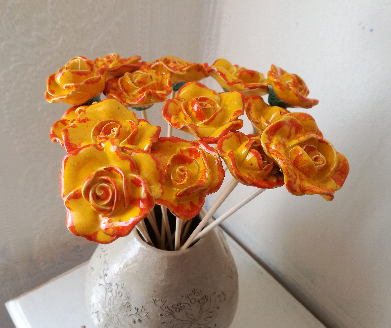 keramik orange rose rose keramik keramik blumen k nstliche. Black Bedroom Furniture Sets. Home Design Ideas