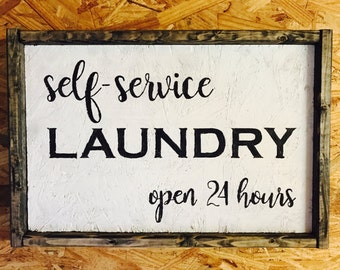 Self Service Laundry open 24 hours hand painted sign, laundry room art, laundry room signs, laundry room decor