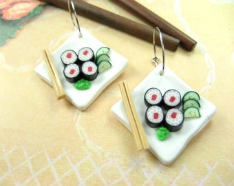 Sushi Earrings, sushi jewelry, sushi plate charm hoop earrings Japanese miniature food polymer clay tuna maki maguro costume unique gifts