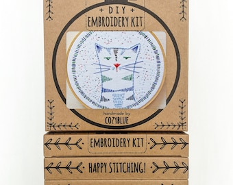 NIGEL NINE-LIVES embroidery kit - embroidery hoop art, beginner kit, hand embroidery, gifts for cat lovers, crazy cat lady, kitty cat design