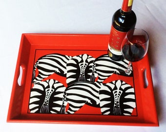 Serving Tray, Hand Decorated with Zebra Bottoms, signal red with black line, FREE Shipping