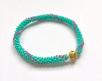 Turquoise glass & Swarovski crystal, beaded crochet, stackable, yoga bracelet