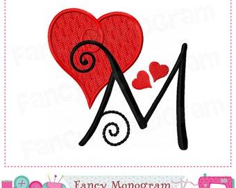 Valentine heart Monogram M applique,Heart Letter M applique,M,Valentine's day,Font M,Alphabet,Valentine heart,M,Birthday Letter M.-1755