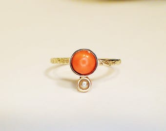 Ring Gold 8 kt freshwater coral pearl