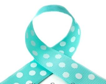 Aqua Polka Dots 1-1/2 inch Polka Dot Grosgrain Ribbon - Polka Dot Ribbon, Polka Dot Hair Bow, Polka Dot Bow, Ribbon By The Yard