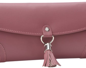 Plum Leather Jewelry Travel Bag with Silver Tassel Closure