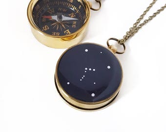 Orion Constellation Necklace with Large Working Compass, Pocket Compass, Long Brass Chain, Stars, Astronomy