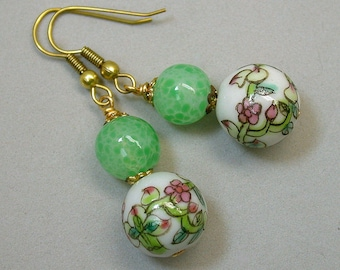 Vintage Chinese Porcelain White Pink Flower Bead Earrings, Peach Pattern Dangle Drop ,Vintage 1940s Japanese Handmade Green Glass Beads