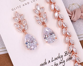 Rose Gold Wedding Bridesmaid Gift Bridal Earrings Bracelet Jewelry Set Clear White Cubic Zirconia Teardrop Ear Stud Earrings E308 B86 B87