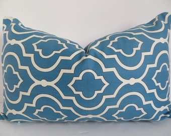 Lumbar Cover, Turquoise PIllow Cover, Geometric pillow Cover, Teal Pillow cover, white pillow cover