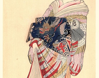 1906, Japanese antique woodblock print, Utagawa Toyoharu, from Ukiyoe-ha-gashu.