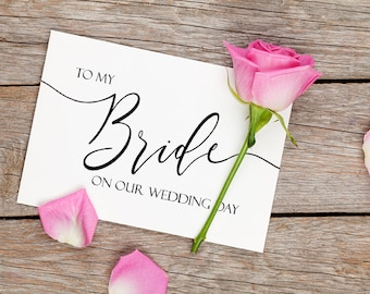 To My Bride On Our Wedding Day Card, Wedding Card to Your Bride, Note Card To My Groom, Bride to Be Card, Bride to Be Gift, Groom to Be Gift