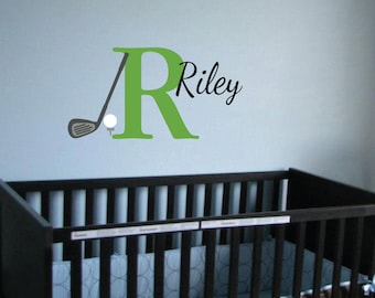 Monogram Golf Sport Theme Vinyl wall decal - Golf Club ball and tee Nursery Toddler room decor