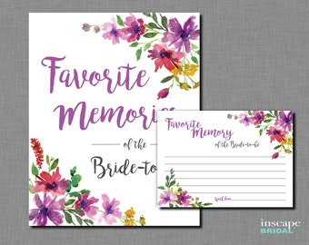 Favorite Memories of the Bride To Be Game Printable,  Bride-to-Be, Purpal Flowers Bridal Shower Game, Garden, Floral Bridal Shower Activity