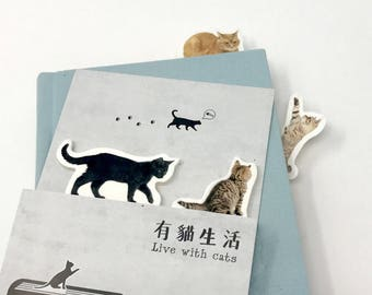 Cute Cat Large Page Flag or Sticky Bookmarks // Student and teacher Kitty Cat post-it notes // kitty bookmarks // 4 Designs Available