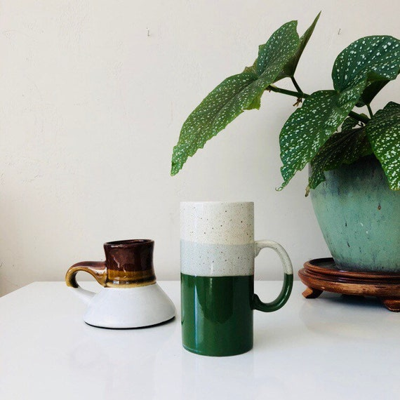 Vintage Green Striped Ceramic Mug Tall Speckled Cream Colored Stoneware Coffee Mug Made in Japan