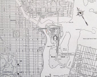 Vintage Map of New York City, Upper Manhattan, The Bronx, Original 1940s Street map, Old map for wall Art, black and white map