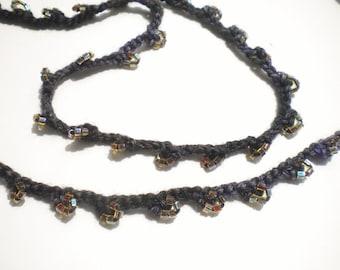 Crocheted Hand Beaded Necklace Merino Wool w Gutermann Seed Beads