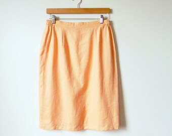 Peachy Apricot Pastel Vintage Pencil Skirt / Spring Pastel Linen Skirt with Pockets / Pastel Pencil Skirt 29-32 Waist / Orange Creamsicle