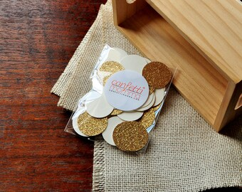 "Ivory and Gold Wedding Confetti Circles 1"" 50CT. Handcrafted in 2-5 Business Days. Table Confetti."