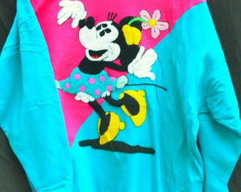Minnie Mouse,Totally 80s,T-Shirt,Sunday Comics,Hot Pink,Electric Blue,Vintage Shirt,Terry Cloth,Textured Graphic,Minnie Mouse Yellow Flowers