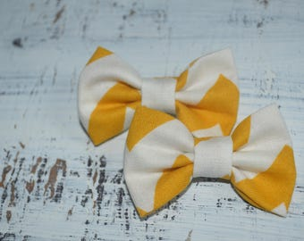 Mustard and Cream Chevron Fabric Pigtail Bow Set