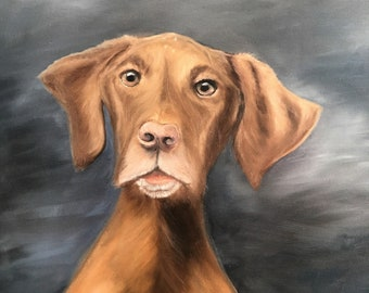 Enjoy a custom oil painting of your favorite pet.   Like Lily, the Viszla.