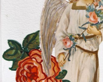 Fine Art Greeting Card: OOAK Angel Montage 'Cherry Blossoms'
