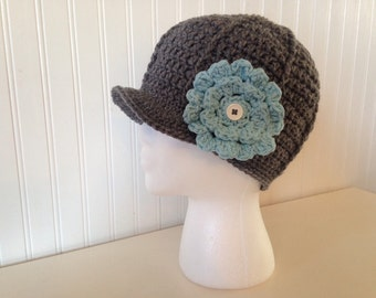 Brimmed hat with button on flowers, newsboy hat, crochet beanie with brim, brimmed hat with flower