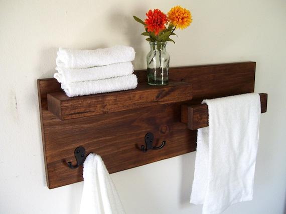 bathroom shelves towel rack towel bar wood shelf bathroom. Black Bedroom Furniture Sets. Home Design Ideas