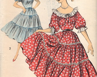 Advance 8393 Square Dance Peasant Style Dress 1950s Bust 36
