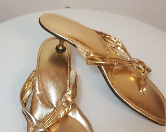 FREE  SHIPPING  Mod Gold Sandal Heels