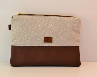 Clutch/cosmetic Bag-beige with brown leather