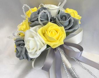 Yellow gray wedding etsy artificial wedding flowers brides bridesmaids flower girls posy bouquet with yellow grey mightylinksfo